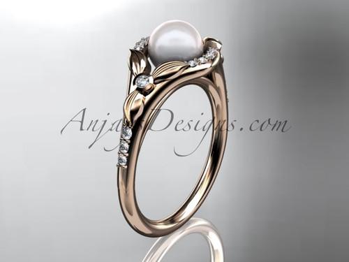14kt rose gold diamond floral wedding ring, engagement ring AP126