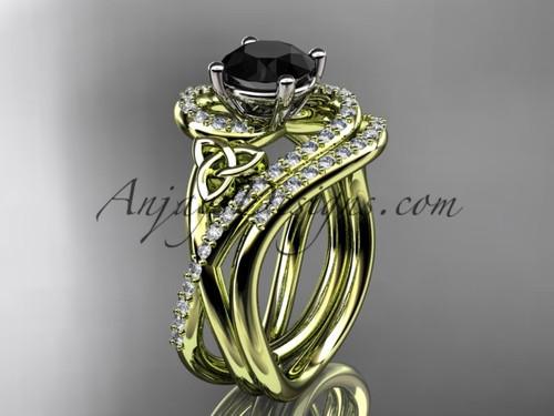 14kt yellow gold diamond celtic trinity knot wedding ring, engagement set with a Black Diamond center stone CT7320S