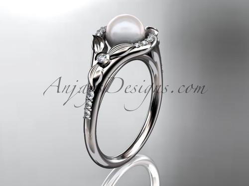 Platinum diamond floral wedding ring, engagement ring AP126