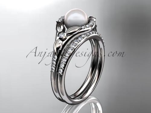 14kt white gold diamond floral wedding ring, engagement set AP126S