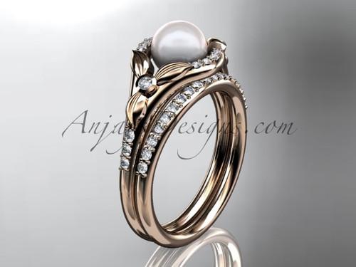 14kt rose gold diamond floral wedding ring, engagement set AP126S