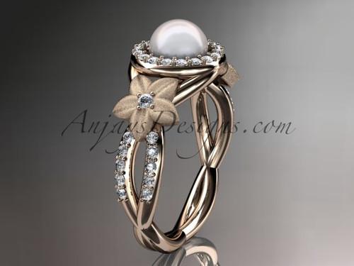 Rose Gold Bridal Ring, Flower Diamond Engagement Ring AP127