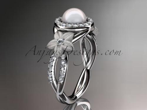Platinum Floral Wedding Ring, Halo Diamond Ring AP127