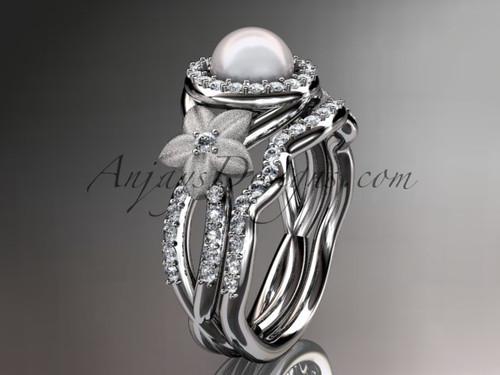 White Gold Halo Diamond Pearl Floral Wedding Ring Set AP127S