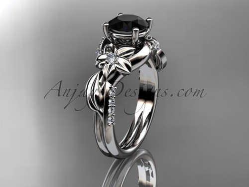 Unique 14k white gold diamond flower, leaf and vine wedding ring, engagement ring with a Black Diamond center stone ADLR224