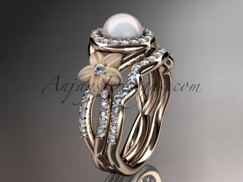 Rose Gold Diamond and Pearl Floral Wedding Ring Set AP127S