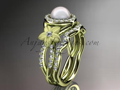 Halo Diamond Ring, Gold Pearl Floral Wedding Set AP127S