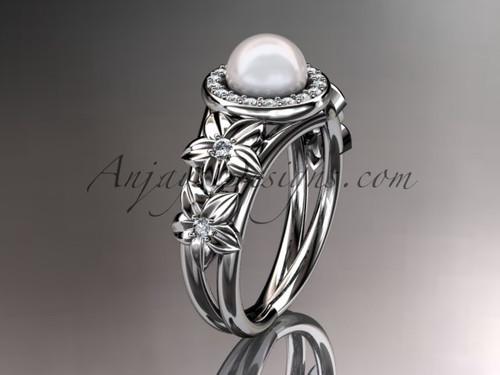 14kt white gold diamond floral wedding ring, engagement ring AP131