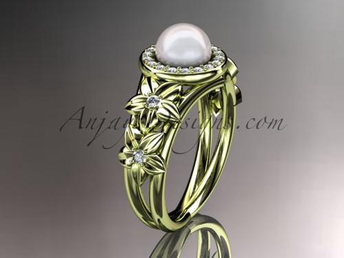 14kt yellow gold diamond floral wedding ring, engagement ring AP131
