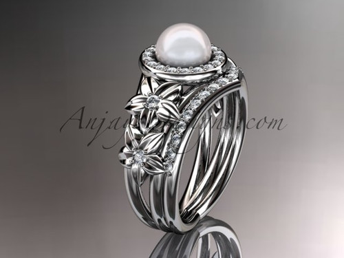14kt white gold diamond floral wedding ring, engagement set AP131S