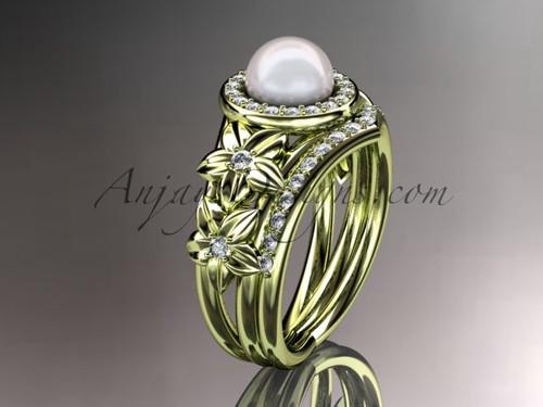14kt yellow gold diamond floral wedding ring, engagement set AP131S