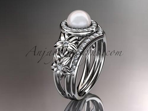 Platinum diamond floral wedding ring, engagement set AP131S