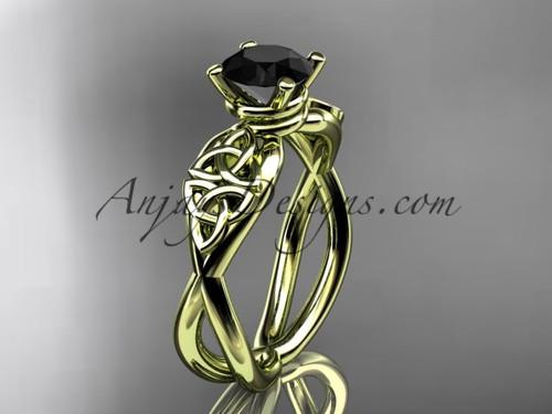 Celtic Black Diamond Yellow Gold Wedding Ring CT770