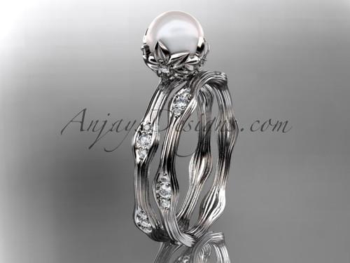 14kt white gold diamond floral wedding set, engagement set AP132S
