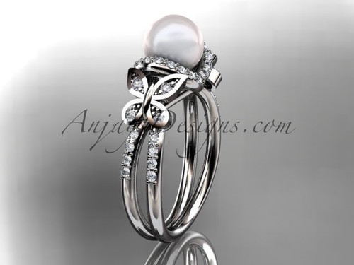 14kt white gold diamond pearl unique engagement ring, butterfly wedding ring AP141
