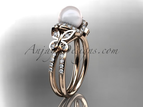 14kt rose gold diamond pearl unique engagement ring, butterfly wedding ring AP141