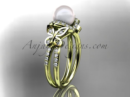 14kt yellow gold diamond pearl unique engagement ring, butterfly wedding ring AP141