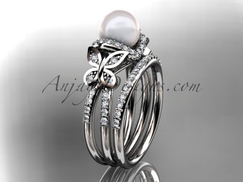 14kt white gold diamond pearl unique engagement set, butterfly wedding ring AP141S