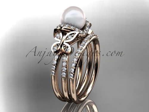 14kt rose gold diamond pearl unique engagement set, butterfly wedding ring AP141S