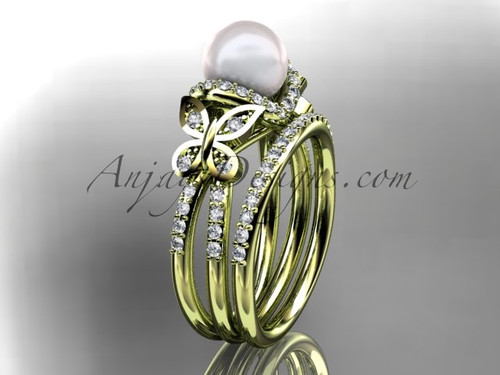 14kt yellow gold diamond pearl unique engagement set, butterfly wedding ring AP141S