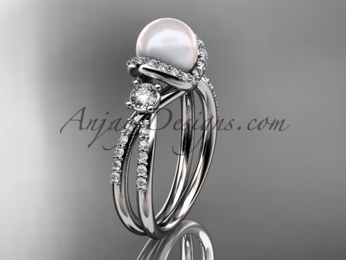 Unique Pearl and Diamond Ring White Gold Engagement ring AP146