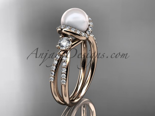 Unique Pearl and Diamond Ring Rose Gold Engagement ring AP146