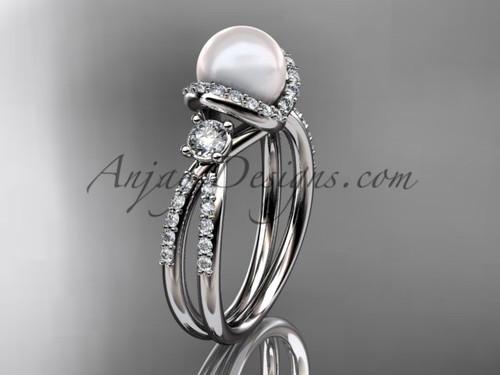 Unique Pearl and Diamond Ring Platinum Bridal ring AP146