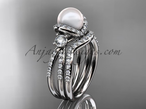 Unique Pearl and Diamond Ring White Gold Wedding Set AP146S