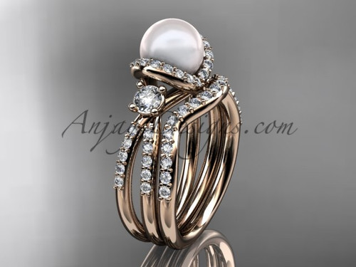 Unique Pearl and Diamond Ring Rose Gold Bridal Set AP146S