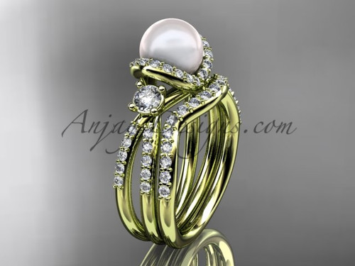 Unique Pearl and Diamond Ring Yellow Gold Bridal Set AP146S