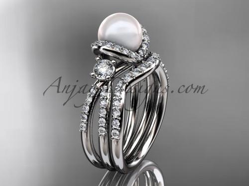Unique Pearl and Diamond Ring Platinum Bridal Set AP146S