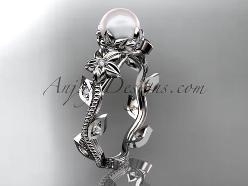 Platinum diamond pearl unique engagement ring, wedding ring AP151