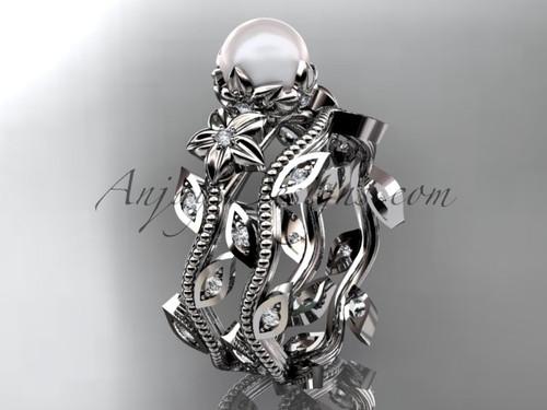 14kt white gold diamond pearl unique engagement set, wedding set AP151S