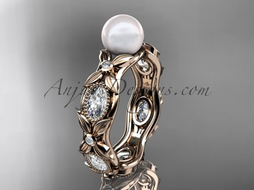 14kt rose gold diamond pearl unique engagement ring, wedding ring AP152