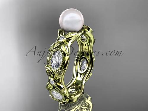 14kt yellow gold diamond pearl unique engagement ring, wedding ring AP152