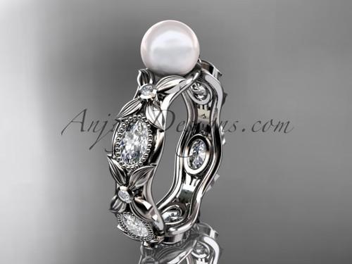 Platinum diamond pearl unique engagement ring, wedding ring AP152