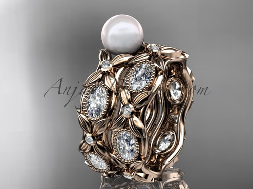 14kt rose gold diamond pearl unique engagement ring, wedding ring AP152S