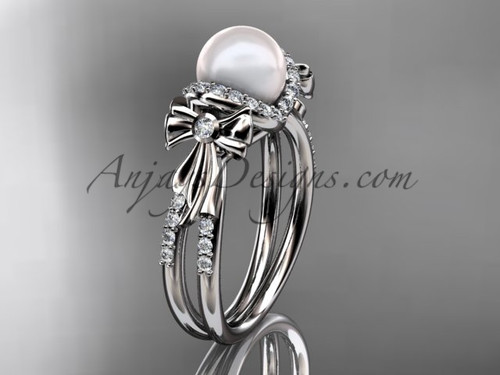 bow wedding ring white gold diamond pearl engagement ring AP155