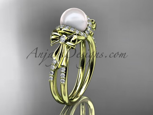 14k yellow gold diamond bow pearl wedding ring AP155