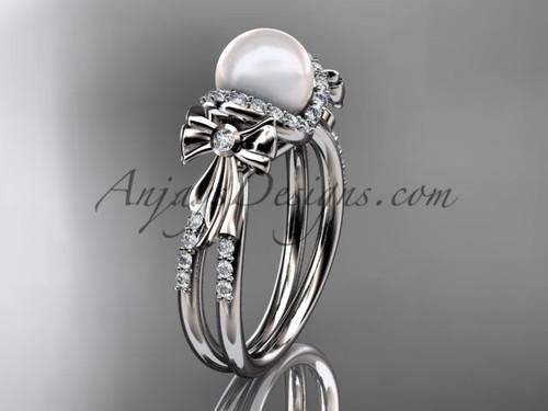 Platinum diamond pearl bow engagement ring AP155