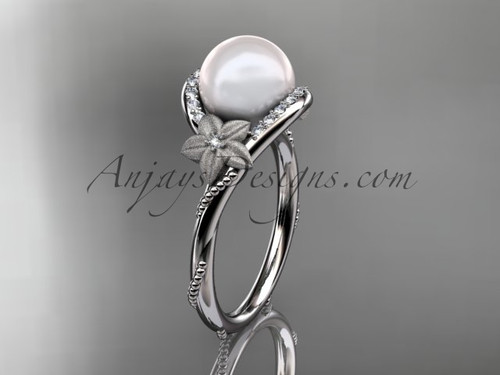 14k white gold diamond leaf and vine, floral pearl wedding ring, engagement ring AP166