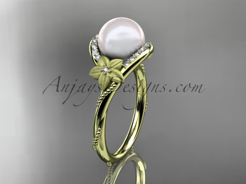 14k yellow gold diamond leaf and vine, floral pearl wedding ring, engagement ring AP166