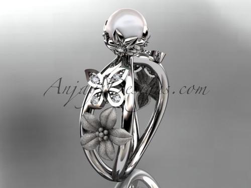 Platinum diamond pearl unique engagement ring, wedding ring AP171