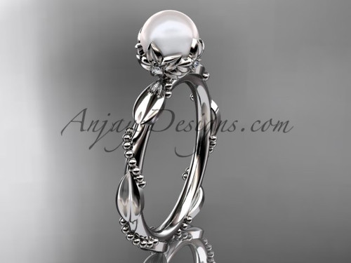 Unique Pearl Engagement Rings - White Gold Pearl Ring AP178