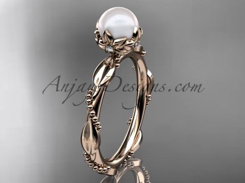 Unique Pearl Engagement Rings - Rose Gold Pearl Ring AP178