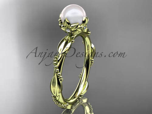 Unique Pearl Engagement Rings - Yellow Gold Pearl Ring AP178