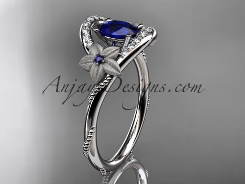 14kt white gold diamond unique floral engagement ring, wedding ring ADLR166 with oval natural royal blue sapphire center stone