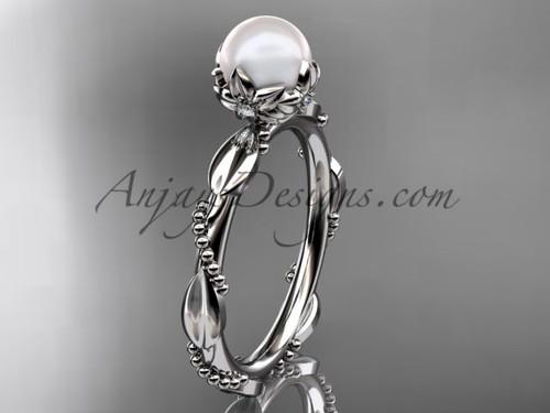 Unique Pearl Engagement Rings - Platinum Pearl Ring AP178