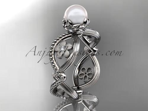 14kt white gold diamond pearl unique engagement ring AP192