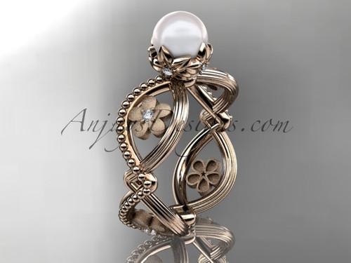 14kt rose gold diamond pearl unique engagement ring AP192
